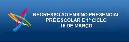 REGRESSO AO ENSINO PRESENCIAL  PRÉ ESCOLAR E 1º CICLO 15 DE MARÇO